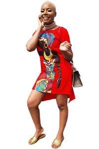 African Dresses Short Sleeve Sexy Retro National Big Fashion Loose Style A-Line Causual Mini Dresses Plus Size 5XL