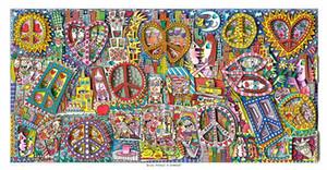 James Rizzi - Give Peace a Chance Decoración pintado a mano la pintura al óleo sobre lienzo de arte cuadros de la pared de lona 191221