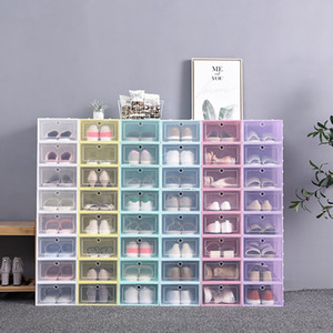 Foldable Clear Shoes Storage Box Plastic Stackable Shoe Organizer Thickened Transparent Drawer Case Home Organizer Shoe Rack 6 COLORS