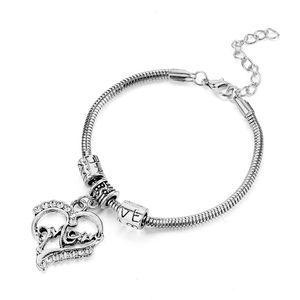 Изысканная любовь Сердце Браслет для Женщин Мать Подарки Мама Подвески Браслеты Ювелирные Изделия Мама Подарок Семейный браслет