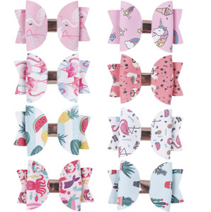 3 enfants Bows imprimé d'ananas pouces Hairclip filles dessin animé flamants roses licorne PU queue d'aronde Bows princesse enfants hairpins partie barettes F2527