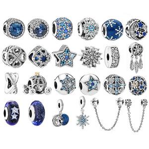 925 Ayar Gümüş Boncuk Deniz Mavi Zirkon Yıldız Fit Orijinal Pandora Charm Bilezik Kolye gümüş 925 Noel Boncuk Moda Takı