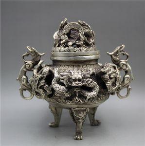 Çin Tibet gümüş el oyma 9 Ejderha Tütsü Brülör w Işaretleri