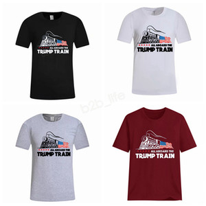 Hombres Donald Trump Train T-Shirt O-Neck Short Sleeve Shirt USA Flag Keep American Great letter Tops Tee TODOS A BORDO DE LA CAMISA LJJA2951