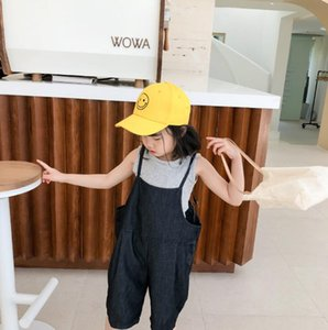 2020 new wholesale girls boys denim overalls summer fashion kids jean pants 1-6 years HV727