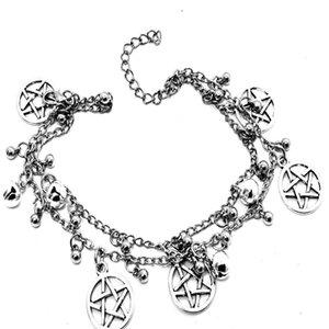 Boho Multi-layer Chain Bracelet &Bangle Tassel Bead Supernatural Pentagram Bell Pentacle Bracelet For Man Women Goth Jewelry Gift Bijoux