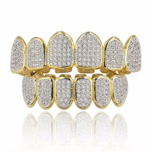 Hip Hop Gold Color Plated Teeth Grillz Caps CZ Micro Pave Exclusive Top&Bottom Gold Grillz Set Ship From US