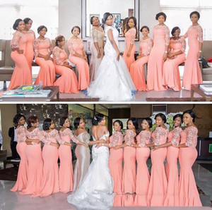 african Plus Size Bridesmaid Dresses 2020 Gorgeous blush pink Mermaid long sleeves Wedding Guest Dress vintage lace Cheap formal Prom gowns