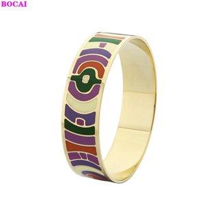 BOCAI новый стиль ювелирные изделия перегородчатая женская эмаль браслет 2020 мода ручной орнамент перегородчатая эмаль браслет для женщин
