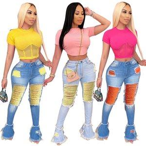 Women ripped holes long pants flared tassel jeans fashion denim high waist bell bottoms stretch denim holes capris pants 3459