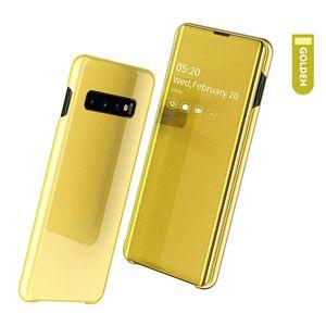 Original de cuero elegante de la caja del espejo para Samsung Galaxy S20 S10 Ultra Plus S10E S9 S8 Nota 10plus 9 8 A20S A10S A30S A50S A50 A40 A20E