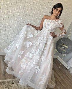 2020 Romantic One Shoulder Wedding Dresses Long Sleeve Appliqued Bridal Gowns Saudi Arabic Sweep Train Lace Plus Size Customize Wedding Gown
