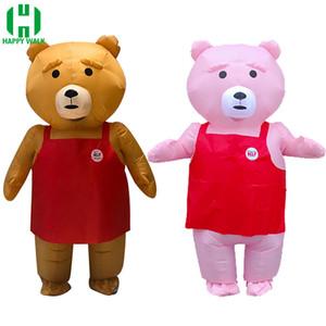 Талисман Медведь Надувной костюм для взрослых Подходит для Teddy Bear костюм талисмана животных Браун и розовый цвет вентилятора с вентилятором