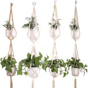 Verknotete Makramee Pflanze Kleiderbügel Vintage Baumwolle Leinen Blumentopf Korb Seil heben hängenden Korb Topflappen Gartengeräte