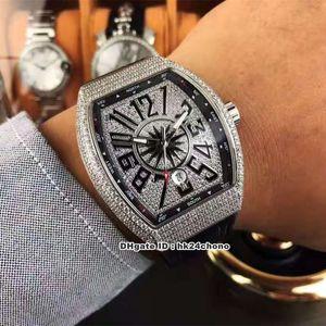 이 개 스타일의 럭셔리 시계 뱅가드 전체 다이아몬드 자동 남성 시계 V (45) SC DT 조밀 한 다이아몬드 다이얼 가죽 스트랩 신사 손목 시계