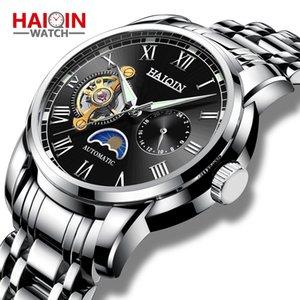 relógios dos homens Automatic Machinery Haiqin 2019 novo relógio de aço homens relógio superior de negócios homens lua relógio reloj hombre