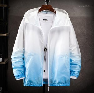 Protector solar para hombre Prendas de abrigo de seda del hielo Diseñador Prevención ultravioleta respirable fino verano ocasional gradiente de la manera Ropa para Hombre