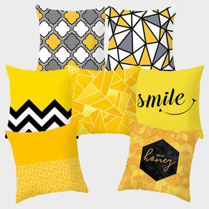Yellow Decorative Cushion Covers 45*45cm Polyester Pillow Decorative Geometric fundas cojines housse coussin Pillowcovers 10042