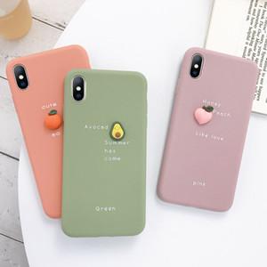 Sevimli 3D meyve Portakal şeftali Avokado Macaron silikon Pembe telefon kılıfı iphone X XR XS 11P MAX 6 7 8 artı için