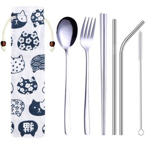 Dinnerware Set Stainless Steel Portable Cutlery Chopsticks Fork Spoon with Metal Straws Cocktail for Travel Cutlery Set