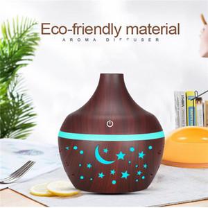 300ml Humidificateur Aroma Huile essentielle Diffuseur à ultrasons grain en bois Mini USB Humidificateur d'air Mist Maker 7 LED Light Car Accueil