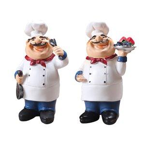 2pcs Home Kitchen Bar Restaurante Ornament Decor Figura Estátua Chef Estátua, Colher / Frutas