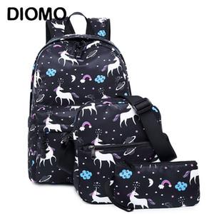 Diomo Unicorn Sac À Dos Femmes Femmes Sac D'école Ensemble Pour Fille Adolescente Sacoche Femme Animal Bagpack Enfants Bandoulière Sac Enfant Y190530