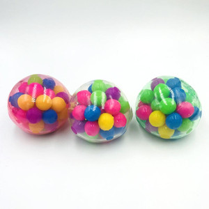 Squishy Stress Ball with Colorful Bead Inside Colorful Sensory Toy Anti Stress Relax Finger Exercise TPR Ball