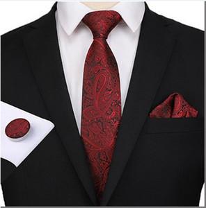 Neue Mode Muster Lange Krawatte Männer 8 cm Seide Krawatte Mann Hochzeit Formale Anlass Krawatte Handkerchief Manschettenknöpfe 3 Stück Set