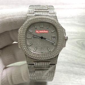 Versione aggiornata dell'elegante orologio sportivo Orologio da polso in acciaio inossidabile con diamanti in acciaio inossidabile Orologio meccanico automatico con quadrante in diamanti d'argento
