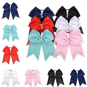 7-Zoll-JOJO Haar-Seil-Cheer Fish Tail-Bogen-Haar-Band-Haarbänder Anbohrer Band Tuch Mädchen Krawatte Haar Scrunchies Kopf Zubehör E22102