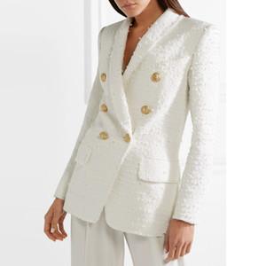 Plus récent piste Blazer Designer Boutons de métal Femmes col châle Laine Blazer en tweed Manteau Costumes Mode femme