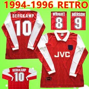 Arsenal jersey Арсенал № 9 MERSON # 8 WRIGHT # 10 BERGKAMP 1994 1995 1996 Футболка ретро-футбол 94 95 96 классическая винтажная рубашка с длинным рукавом ADAMS GASCOIGNE retro