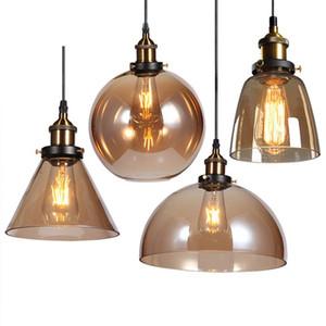 Luces colgantes de la vendimia Lámpara colgante de cristal de ámbar americano E27 Bombilla Edison Comedor Cocina Decoración para el hogar Lámpara Planetario