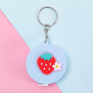 Cute Cartoon Mini Round Blue Tape Measure Strawberry Flower Design Measuring Tape Two-sided Scale Tape for Product Measurement