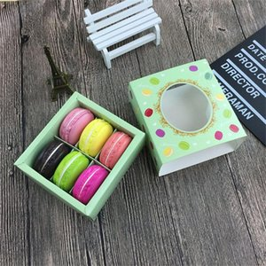 Cake Boxes Transparent Macaron Box 6-cell Chocolate Boxes Square Cookies Biscuit Paper Packging Box 12*11*5.2cm Pink Green
