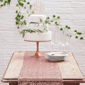 De oro rosa de plata de lentejuelas corredor de la tabla de la boda fiesta de cumpleaños Mantel brillante Decoración de eventos Bling Suministros de mesa