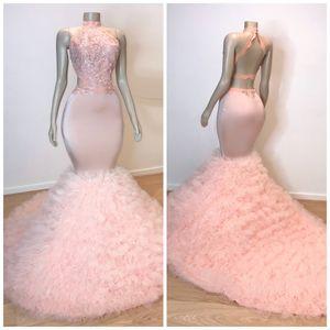 Розовое длинное платье для выпускного с рюшами 2019 Русалка Сексуальное кружевное платье с аппликацией и высоким вырезом без рукавов на шнуровке с прозрачным шлейфом Элегантные вечерние вечерние платья