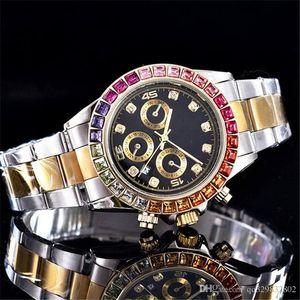 Reloj 험 브레 럭셔리 남성 디자이너 시계 자동 데이 데이트 패션 브랜드 전체 다이아몬드 손목 시계 남성 골드 손목 시계 블랙 새로운 태그 석영 시계