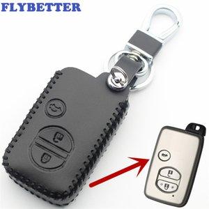 Flybyter echtes leder 3 taste smart key case abdeckung für toyota camry / krone / highlander / prado / prius auto styling l2105