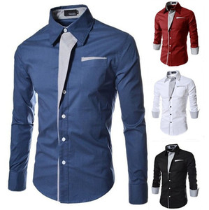 Luxury Mens Dress Shirt Designer Solid Color Slim Shirts Autumn Casual Mens Long Sleeves Tops