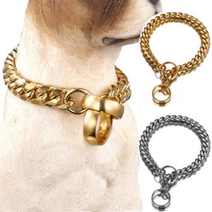 14mm Width Dog Chain Stainless Steel Metal Training Pet Collar 18K Gold Silver Plated Dog Accessories Necklace for Large Dogs