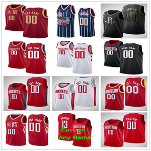 Printed HoustonRocktes Russell 0 Westbrook Eric 10 Gordon James 13 Harden 15 Clint Capela 25 Austin Rivers 17 PJ Tucker Basketball Jerseys