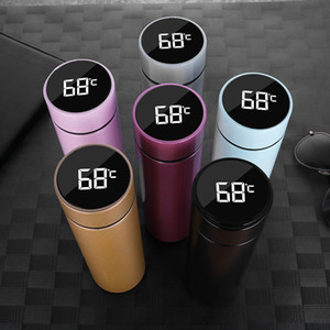 Water Bottles Smart Mug Temperature Display Vacuum Stainless Steel Water Bottle Kettle Thermo Cup With LCD Touch Screen Gift Cup drop ship