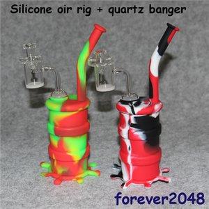 Narghilè Silicone Barrel Rigs Mini Silicone Rigs Dab Jar Bongs Jar Tubo dell'acqua Silicon Oil Drum Rigs con quarzo chiodi bangers spedizione gratuita