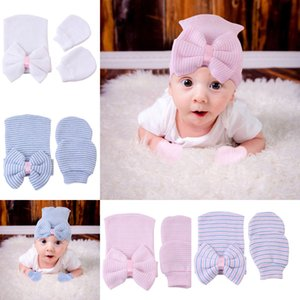 Europe Fashion Infant Baby Hat Child Babies Hats Beanie Gloves Kids Bowknot Knitted Hat + Gloves 2pcs Set 15080