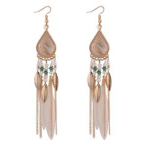 Bohemian feather Tassel Earrings Brincos Retro Fashion Feather Fan Tassel Earrings Long Brincos de grife