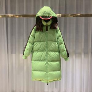 Зимняя повседневная куртка женщин ФФ длинный верхняя одежда пальто вниз Pacthwork теплые и куртки Женские цветовой контраст деньги прямо сейчас ветровки зеленого цвета