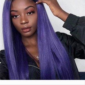 Фиолетовый цвет Deep часть фронта шнурка человеческих волос парики бразильский Реми волос полный парик шнурка с Pre щипковых Hairline отбеленные узлы Бесплатная доставка
