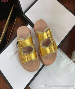 Summer flat slippers ladies leather sport sandals fashion versatile trend casual platform word buckle sandals With box 35-40
